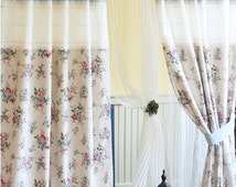 Romantic Shabby Floral Linen Curtains, Shabby Chic Curtains, Window Treatment, Natural Home Decor,  Linen Fabric Curtain Panels