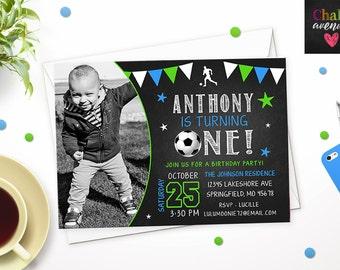 DIGITAL // Soccer Football Futbol // First Birthday Chalkboard Style // Custom INVITATION // ANY Age // Choose Colors #8882016I