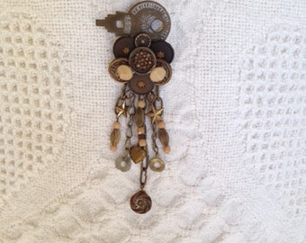 Brooch with Vintage Metal and Glass Buttons-Old Brass Lockbox Key-Assemblage-Unique One of a Kind-Repurposed-Button Jewelry-Upcycled Brooch