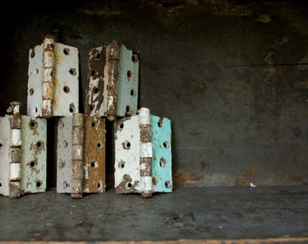 Set of 5 Antique Salvaged Steel Ball Hinges