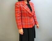 JAEGER Vintage 1980's DESIGNER, WOOL Blend Plaid Ladies Jacket, Size Medium, 6-8