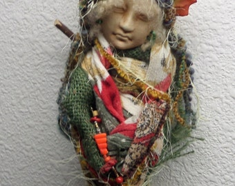 Tara Moon,Art Doll, Shabby Chic Decor, OOAK Art Doll,  Kitchen Spirit, Decorative Art Doll, Wall Decor ,Ethnic Art, Zen Decor