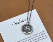 Seahorse necklace - Wax seal necklace made from an antique wax seal with seahorse design 340