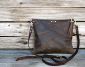 Cross Body Purse / Leather Clutch /  Raw Edge Leather Bag / Handmade Purse /  Zipper Pouch / Wristlet / Convertible Bag