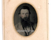 Reserved Bearded man tinted tintype antique photo civil war era