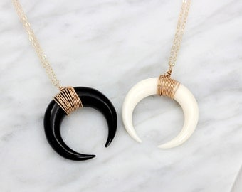 Double Horn Necklace, Gold Crescent Moon Necklace, Silver Tusk Necklace, Bone Horn Necklace / Layering Boho Necklace, Upside Down Moon