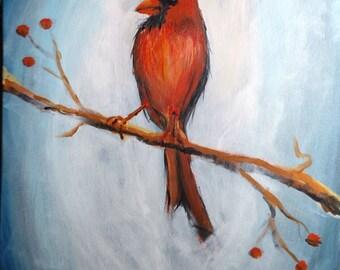 Big Cardinal, 16x20, Original Acrylic Art