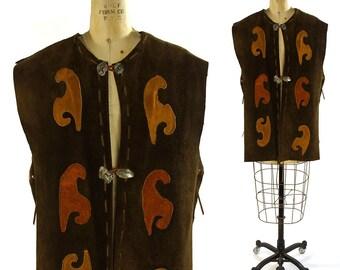 1960s Suede Vest / Vintage Handmade Patchwork Leather Hippie Vest