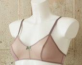 SYL — retro style bralette — soft pink dragonscale jersey & rosewood mesh — soft cup bra / wire free — available in plus sizes