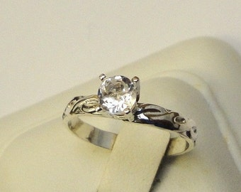 Endless Love diamond quartz solitaire ring or sapphire/moissanite - custom size - sterling silver or gold  engagement, wedding, just because