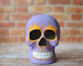 Purple Sugar Skull with Flames for Day of the Dead