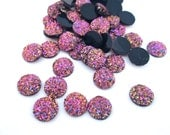 10 Iridescent Purple 10mm Resin Druzy Cabochons, E167