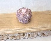 Handmade Tapestry Art Box - Pastel Silk Treasure Basket with Lid - Unique Handmade Gift for Her with Pink Flower - Winter Love Gift STB090