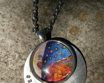 Flammarion Inspired Glass Domed Pendant with Metal: Earth is Flat