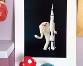 Print: Fluffy Jamila with Rocket - felt plush needlefelt photo graphic wall decor digital kaiju sic-fi toy japanese retro
