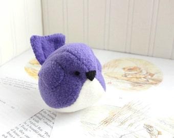 Purple Fleece Bird Stuffed Animal Childrens Purple Plush Bird