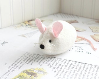 White Mouse Stuffed Animal Plush Mouse Fleece Mouse Toy Mouse