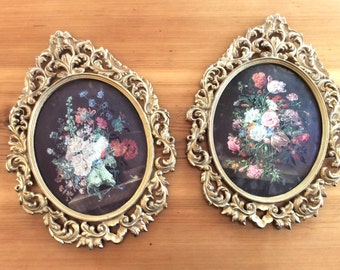 Midnight Garden. LARGE Vintage Flowers on Black, Framed Prints. Round Ornate Gold Bubble Glass Frames. Wall Art Pair. Rococo Victorian Style
