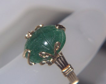 EGYPTIAN SCARAB Ring Green Adventurine Carved Gemstone Custom Wire Wrap 14k Gold Filled Setting