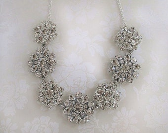 Bridal Necklace wedding jewelry Crystal statement jewelry silver chunky wedding Necklace rhinestone