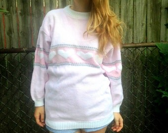 1980s Pastel Heart Sweater // Sweetheart Pullover // XL // pink and white // oversized // CUTE // Grey Gray / plus size / 80s / cartoon
