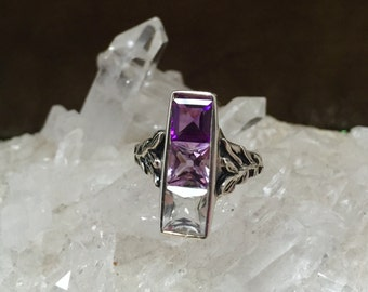 Shades of Amethyst and Clear Quartz in Sterling Silver- The Indigo Ring