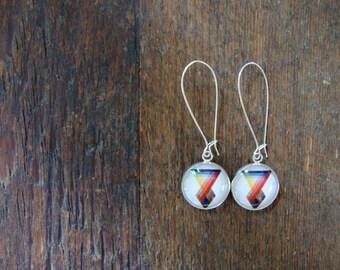 color prism dangle earrings | artist, art, diagram, spectrum, rainbow, long, colorful, bright colors