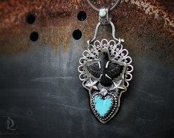Southern Rock // Wonderlust Series // Sterling Silver, Turquoise, Opal and Raven Metalsmith Necklace by BellaLili