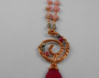 Handmade wire wrapped Copper, Jade, Rhodochrosite, Pyrite, Labradorite, and rhodonite Necklace