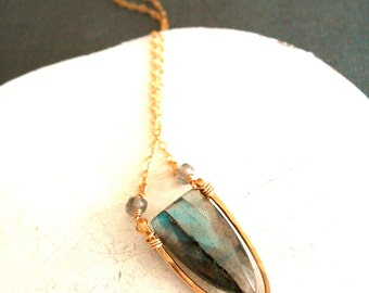 Flash Labradorite Necklace grey blue and gold Vitrine Designs Surf Necklace shield