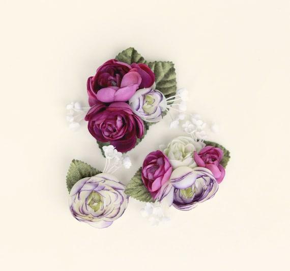 Purple flower clip set, Ranunculus hair clips, Eggplant flower headpiece, bridal hair accessory, wedding flower clips, Bridesmaid hair clips