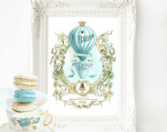 Hot air balloon French art print, vintage flight, travel print, Le ballon in blue and gold, A4 giclee