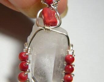Quartz point: clear Quartz Crystal with Coral, pendant