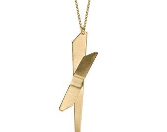 Karla Necklace, Everyday Gold Necklace, Minimalist Necklace, Gold Geometric Necklace, Long Gold Pendant Necklace, Minimalist Gold Necklace