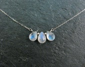 Dainty Rainbow Moonstone Necklace in Silver - Rainbow Moonstone Trio Pendant Necklace - Modern Minimalist Gift For Her