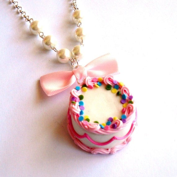 birthday cake necklace pink and rainbow by fatallyfeminine