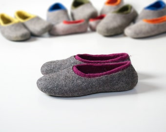 Felted woolen clogs with a colorful inner part, Comfortable flats for women, Handmade from natural wool felt