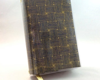 Paperback Book Cover - Reusable, Protective and Adjustable - Small Mass Market Size - Stylish Book Cover with Gold Basketweave Design