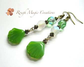 Green Shoulder Duster Earrings, Extra Long Drops, Boho Beach Green & White, Summer Trends, Scallop Shell Dangles, Antique Brass Beads E421