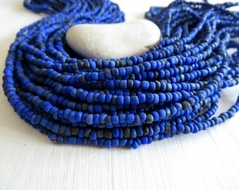 blue seed beads , dark blue glass beads, small organic barrel tube spacer Indonesia 1.5  to 4  mm /  44 inches  strand  - 6cb17-2