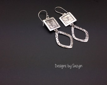 Earrings, silver, tribal, artisan, handmade, large dangle