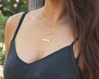 Gold Bar Necklace, Layered Necklace Set of 3, Silver, Rose, Gold Layering Necklaces, Personalized Necklace, Custom Name Bar Necklace