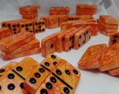 Lava Lake - Hand Painted 55 Piece Double Nine Standard Size Domino Set w/ Black Storage Case, alcohol inks, tiles, toys and games