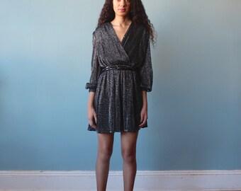 silver sparkle mini dress / surplice party dress / 1980s / small - medium