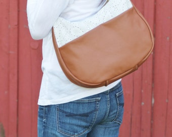 Brown Leather Shoulder Bag - Hobo Bag, accented with white eyelet lace