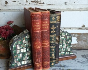 Vintage Mosaic Bookends - Broken China Mosaic - Plaid - Rustic
