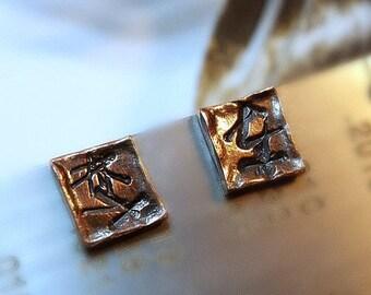 Symbols Copper Studs, Men's Industrial Stud Earrings, Brown Black Unisex Post Earrings, Distressed Tribal Symbols, Hammered Organic Shapes