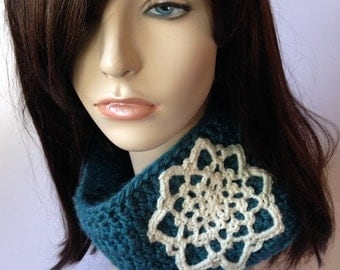 Womens Cowl with Mandala Womens Scarf with Medallion Womens Cowl Bohemian Cowl Warm Winter Scarf Snowflake Scarf Teal Cream MADE TO ORDER