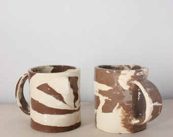 Pair of handmade Studio Pottery Stoneware mugs