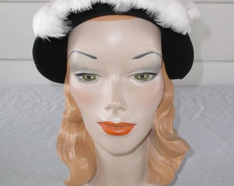 Clearance 1950s Vintage Black Felt with White Feather Trim Hat Merrimac